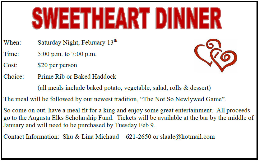 Sweetheart Dinner 5pm $20 @ Sweetheart Dinner Buffet February 13 Prime Rib, Baked Haddock, Chicken Cordon Bleu and all the fixings $ 20.00 per person see details