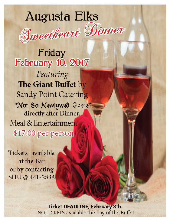 Feb 10th, Sweetheart Dinner 5pm Giant Buffet $17 Per, Purchase Tickets by Feb 8th @ Sweetheart Dinner Buffet February 10 Sandy Point,  $ 17.00 per person see details