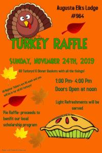 Turkey Raffle & Pie Auction. Sunday November 24th, 2019 @ 60 Turkey Raffle & Pie Auction. Sunday November 24th, 2019