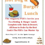 PER's Burger & Hotdog, Sides & Desserts Lunch May 6th 12pm-2pm in the Sports Lounge