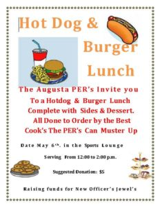 PER's Burger & Hotdog, Sides & Desserts Lunch May 6th 12pm-2pm in the Sports Lounge @ The Augusta PER's Invite you toa Hotdog & Burger Lunch Complete with Sides & Dessert. | Augusta | Maine | United States