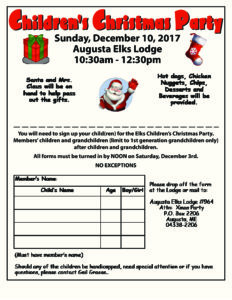 Children's Chrismas Party Sunday, December10, 2017 Augusta Elks Lodge 10:30am - 12:30pm @ Children's Chrismas Party 10:30am - 12:30pm