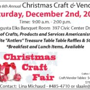 6th Annual Christmas Craft&Vendor Fair Saturday, December2nd, 2017 9am – 2pm