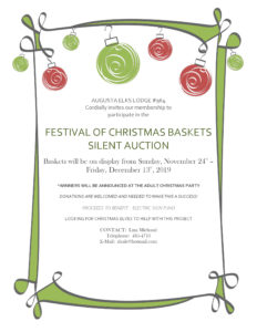 FESTIVAL OF CHRISTMAS BASKETS SILENT AUCTION November 23rd – December 13th, 2019 @ Baskets will be on display from Sunday, November 24th – Friday, December 13th, 2019