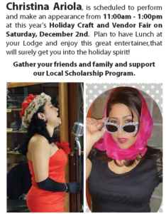 Christina Ariola Perform's Saturday Dec 2nd 11am - 1pm @ Christina Ariola Perform's Saturday Dec 2nd 11am - 1pm