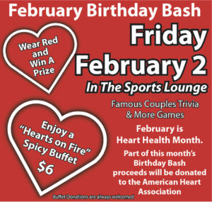 Birthday Bash Feb 2nd - Hearts On Fire, Spicy Buffett $6 @ Buffett $6 per, Hearts on Fire Spicy | Hulbert | Oklahoma | United States