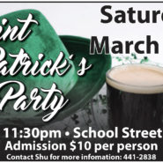 Saint Patrick's Day Sat March 17th 7:30pm $10 – School Street Band
