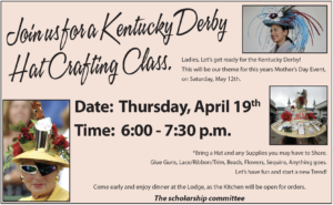 Kentucky Derby Hat Crafting Class April 19th 6:00pm - 7:30pm @ Elks: Kentucky Derby Hat Crafting Class