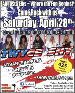 Twyce Shy New England's Best 80's Rock Band April 28th@9pm Only 425 Tickets @ Elks:Twyce Shy New England's Best 80's Rock Band April 28th 9pm