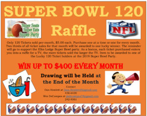 Drawing Super Bowl 120 Raffle Win UpTo $400 Each Month @ 120 tickets sold a month, $400 prize, drawing will be held at end of month: see details