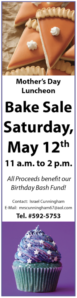 Bake Sale Saturday, May 12th 11 am to 2 pm