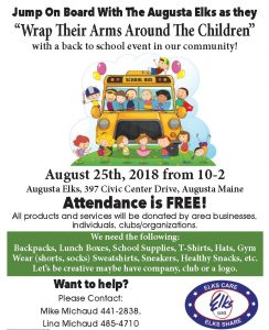 Jump On Board With The Augusta Elks August 25th, 2018 from 10-2 With a Back to School Event! @ Back to School Event