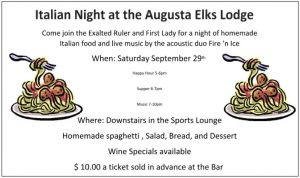 Sep. 29th Italian Night with music by: Fire & Ice @ Elks Sports Pub
