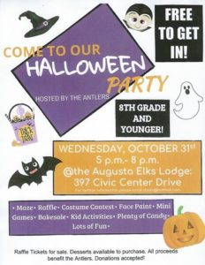 Oct 31st Halloween Party - 8th grade and younger, Free admission - sponsored by the Antlers @ Maze, Games,face painting, Kids activities, candy, games, bake sale | Augusta | Maine | United States