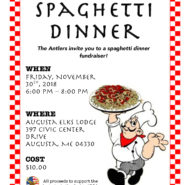 Spaghetti Dinner for Antlers Fundraiser – Nov 30th,  6-8pm – $10