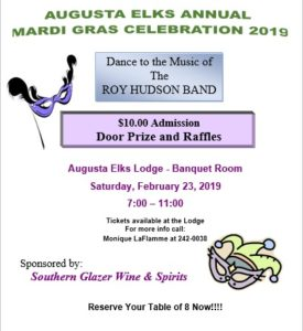 Augusta Elks Annual Mardi Gras Celebration February 23, 7pm - 11pm @ Door Prize and Raffles