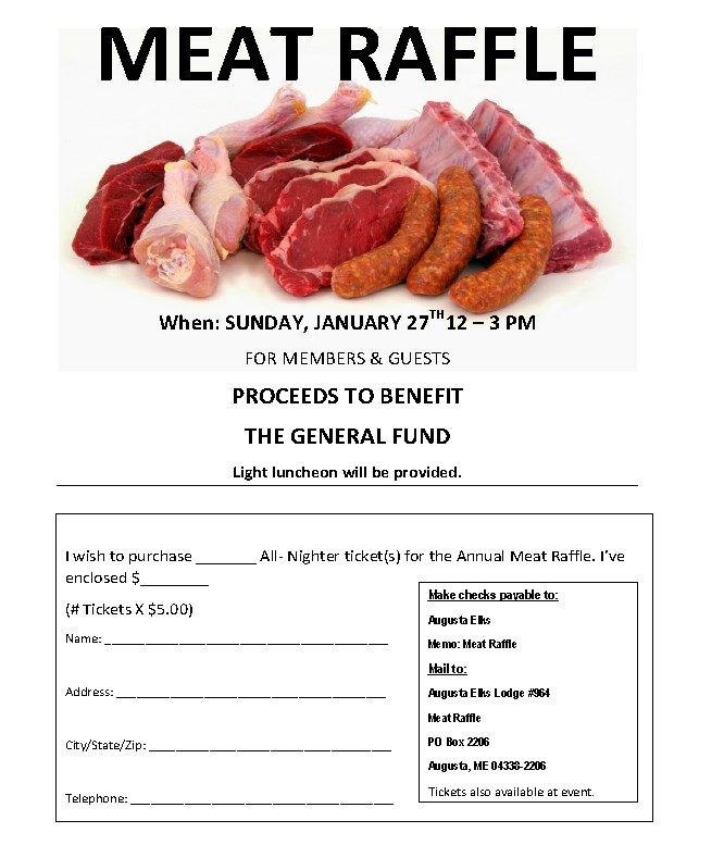 Meat Raffle - January 27, 2019 12pm-3pm, Light Lunch Tickets are $5 and can be purchased the day of Raffle @ Meat Raffle - January 27, 2019 12pm-3pm There will be a light lunch All-nighters available at the bar now! Tickets are $5 and can be purchased the day of Raffle