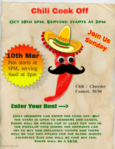 Chili-Chowder Contest 3-10 1pm, Start Serving at 2pm.  See details for more.