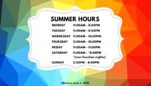 New Summer Hours! @ New Summer Hours!