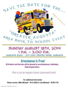 Greater Augusta Area - Back To School Event Saturday 8-18 1pm @ see poster