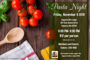 Pasta Dinner - Nov 8th Members and Guest $12 per @ Members and Guest Welcome