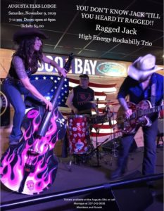 "Ragged Jack - High Energy Rockabilly Trio Nov9th 7-11pm doors open at 6pm $8per @ ""You don't know Jack"" till you heard Ragged - call for tickets, members and guest"