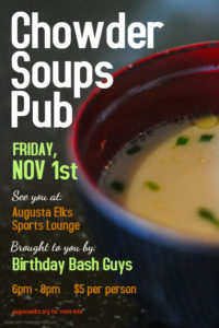 November Birthday Bash, Friday Nov 1st @6pm – 8pm Serving Soups & Chowders $5 per, In The Sports lounge @ Serving Soups & Chowders $5 per, In The Sports lounge