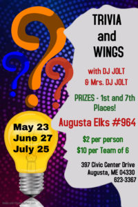 Trivia And Wings with music by DJJOLT $2 per person or $10 for team of 6, Prizes doors open 5pm Trivia at 6pm @ Trivia And Wings with music by DJJOLT $2 per person or $10 for team of 6, Prizes doors open 5pm Trivia at 6pm
