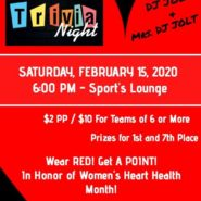 Trivia And Wings with music by DJJOLT $2 per person, Prizes doors open 5pm Trivia at 6pm