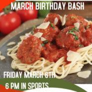 Pasta Night March 6th 6pm in the Sports Pub