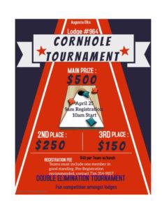 Cornhole Tournament Apr25th 9am Registration 10am event begins @ See Details on poster Cash prizes