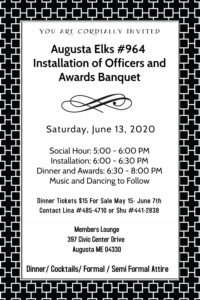 Installation of Officers and Awards Banquet 5pm Social Hour, Installation, Dinner, Music and Dancing @ Social Hour, Installation, Dinner, Music and Dancing