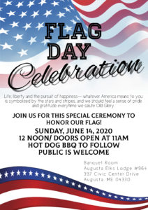 Sunday June 14th Flagday, 11am, door open at 10am Hotdog BBQ to follow, Public is welcome @ See poster (update time changed to 11AM)