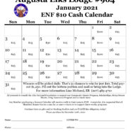 ENF Cash Calendar – January, all month – see details and join the fun